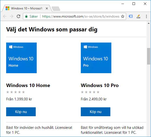 Köp och ladda ner Windows från Microsoft