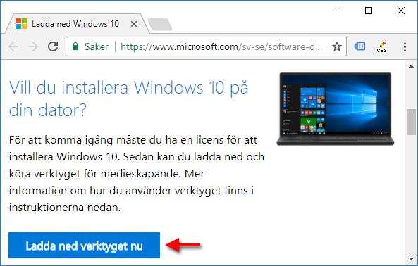 Ladda ner verktyget för att skapa ett startbart USB-minne - Windows 10