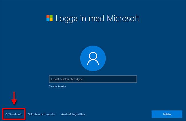 Logga in - Microsoft konto - Offline-konto