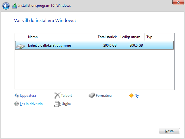 Vart vill du installera Windows 10 - Formatera - Oallokerat