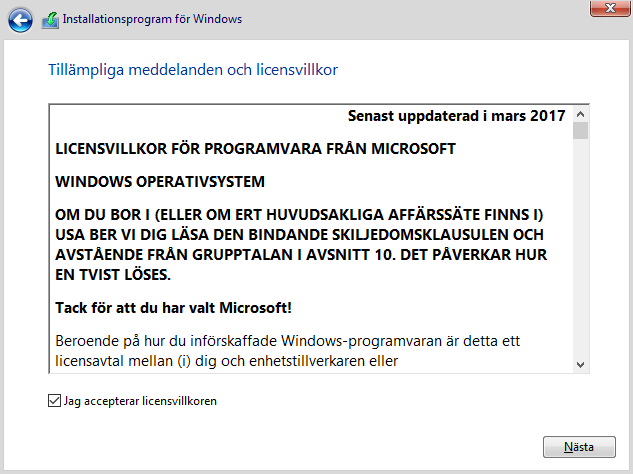 Windows 10 - Accepterar licensvillkoren