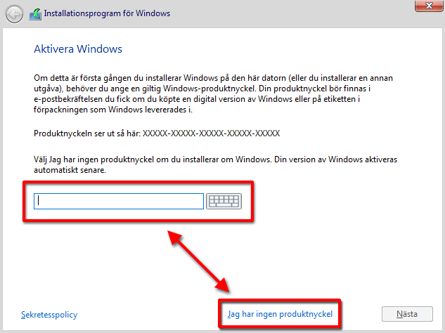 Windows 10 - Aktivera Windows - Installera
