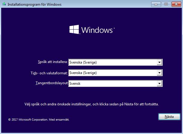 Windows 10 - Installera - Språk - Tid - Tangentbord