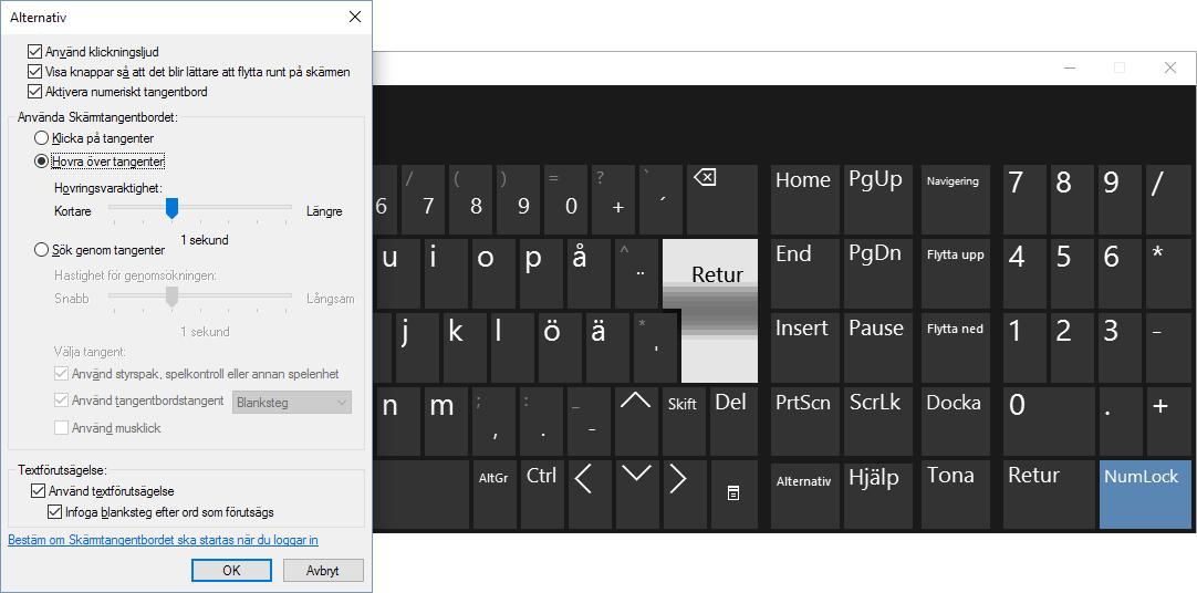 Windows 10 - Skärmtangentbordet - Alternativ - Hovra
