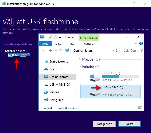 Windows 10 - Välj ett USB-flashminne - Enhetsbokstav