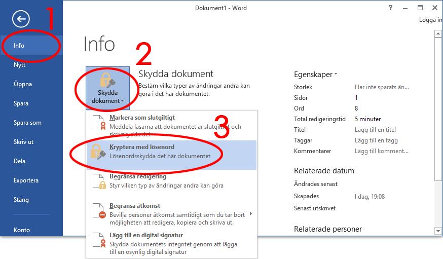 Info, Skydda dokment, Kryptera med lösenord - Word