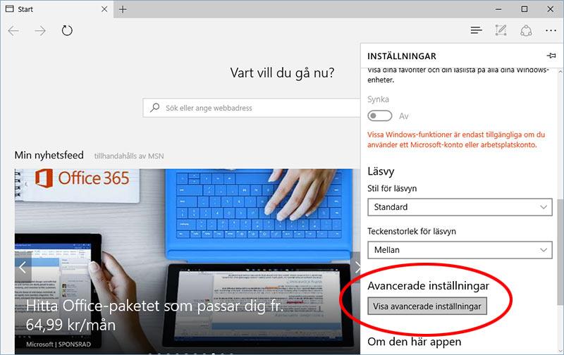 Microsoft Edge - Google - Visa avancerade inställningar