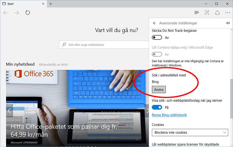 Microsoft Edge - Sök i adressfältet - Med Bing - Google