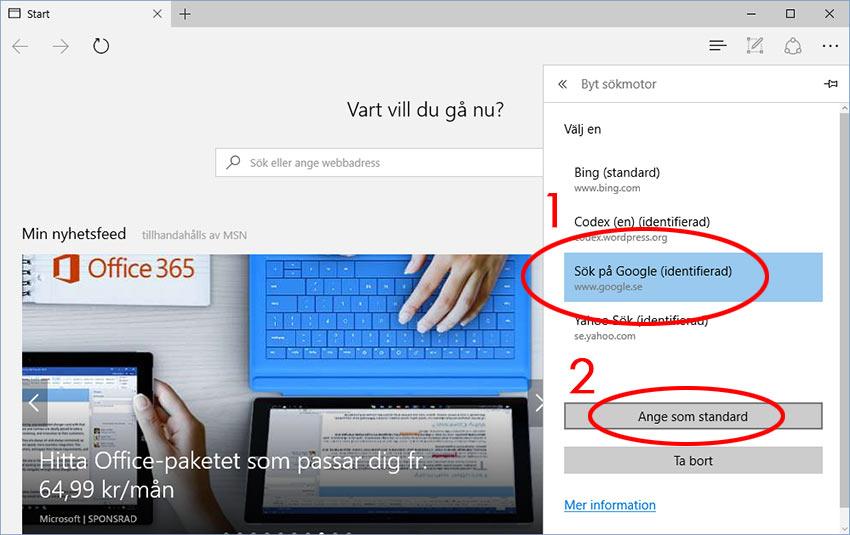 Microsoft Edge - Sök på Google - Ange som standard