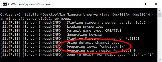 Minecraft - Ladda in en egen värld till servern