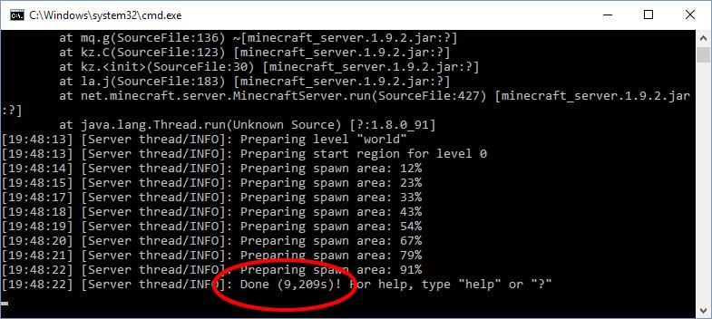Minecraft - Server - Preparing spawn area done