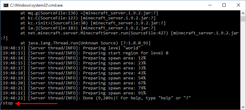 Minecraft - Server Stop - Stäng av server