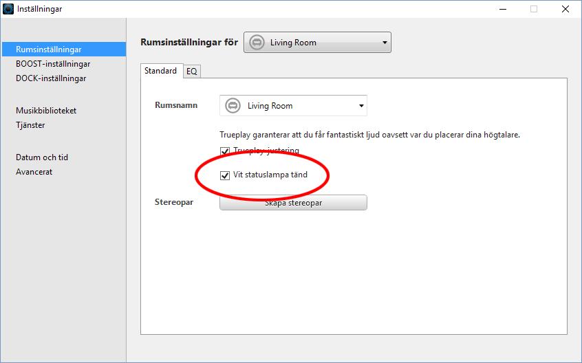 Sonos - Vit Statuslampa - Tänd - Släck - PC, Mac