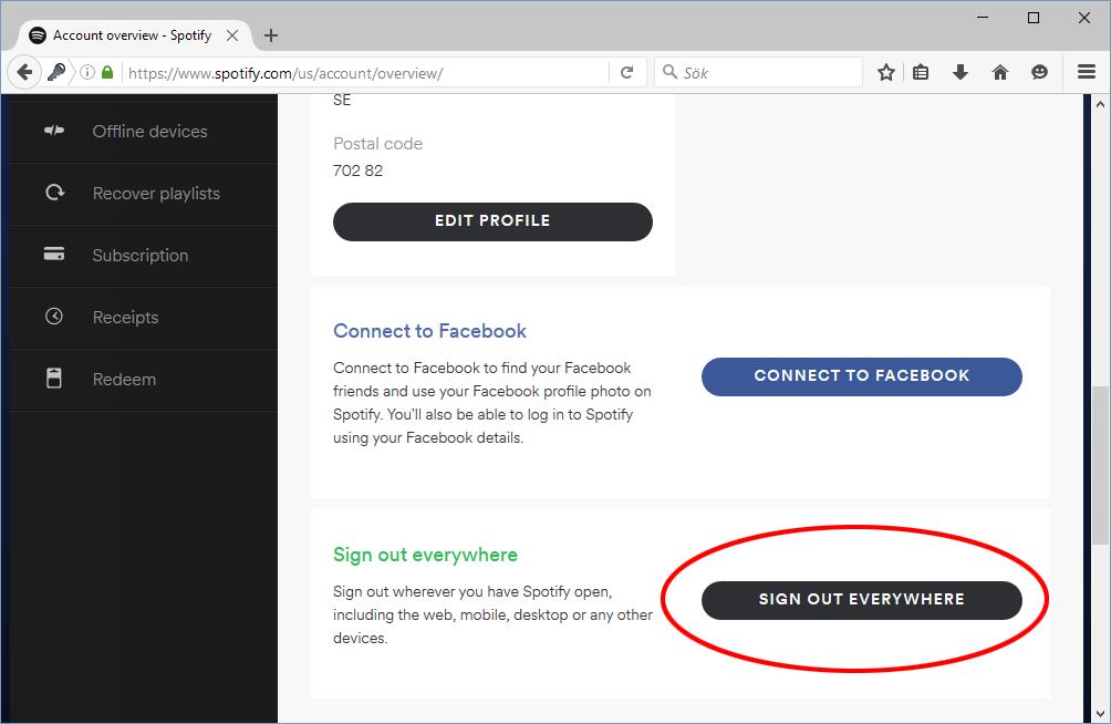 Spotify - Logga ut på alla enheter - Sign out everywhere