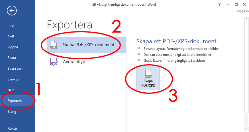 Word - Exportera - Skapa PDF XPS - Dokument