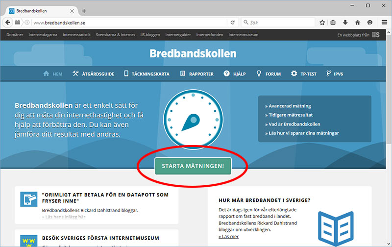 Bredbandskollen.se - Starta test av bredband / Internet