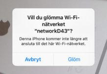 Ta bort ett sparat Wi-Fi-nätverk på iPhone
