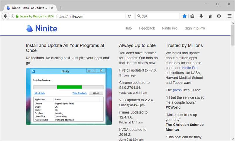 Gå till Ninite.com - Hämta flera program samtidigt