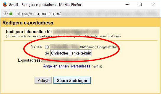 Gmail - Ändra skicka e-post som - Namn