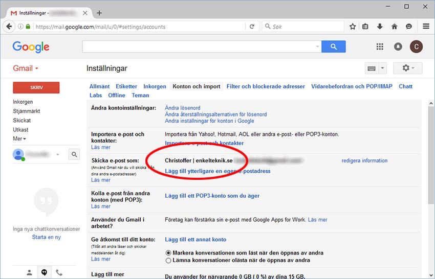 Gmail - Ändrat avsändare