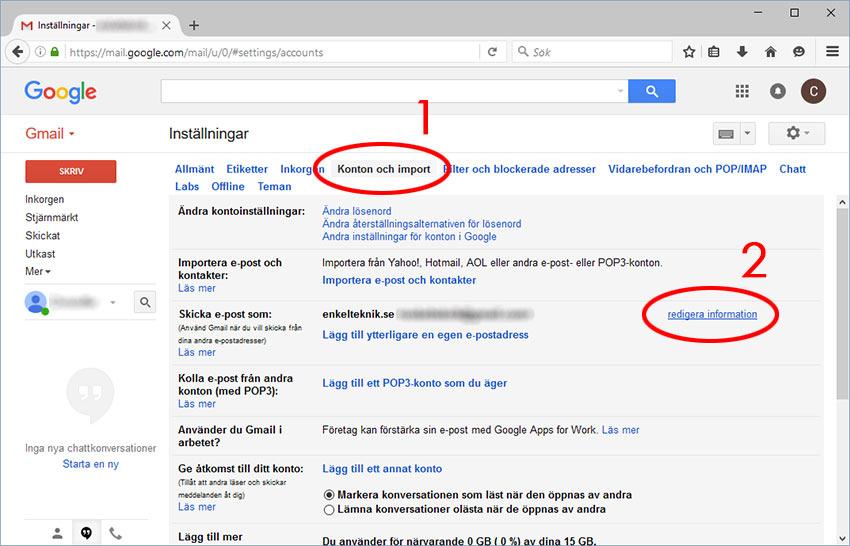 Gmail - Konton och import - Redigera information - Skicka mejl som