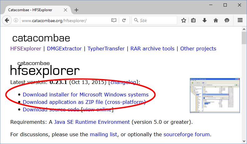 HFS Explorer - Ladda ner - Mac hårddisk på Windows