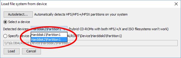 HFS Explorer - Load file from device - Hårddisk partition
