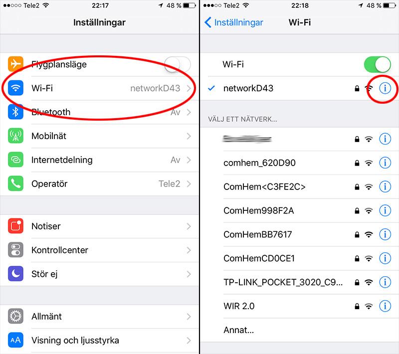 iPhone - Inställningar - Wi-Fi-nätverk - Detaljer