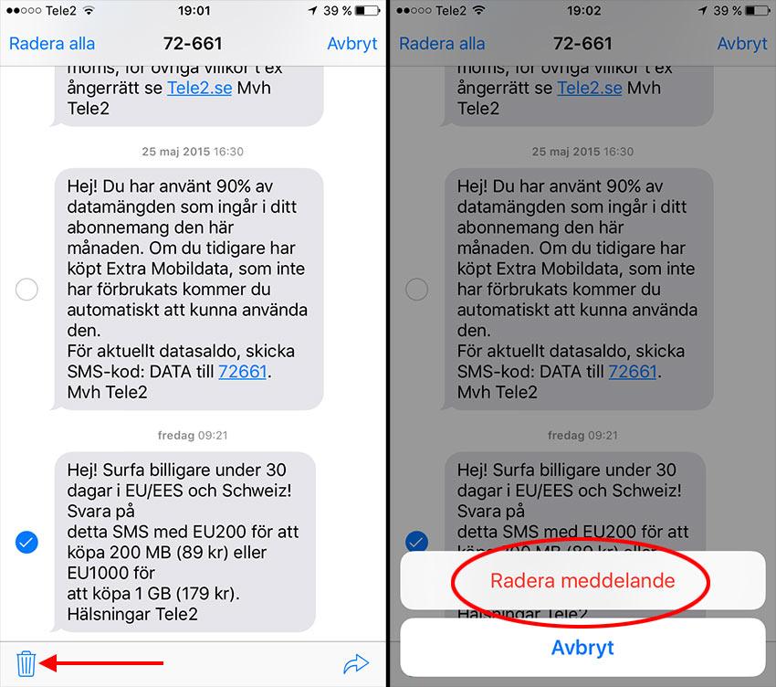 iPhone - Ta bort ett eller flera SMS-meddelanden på iPhone - Radera meddelande