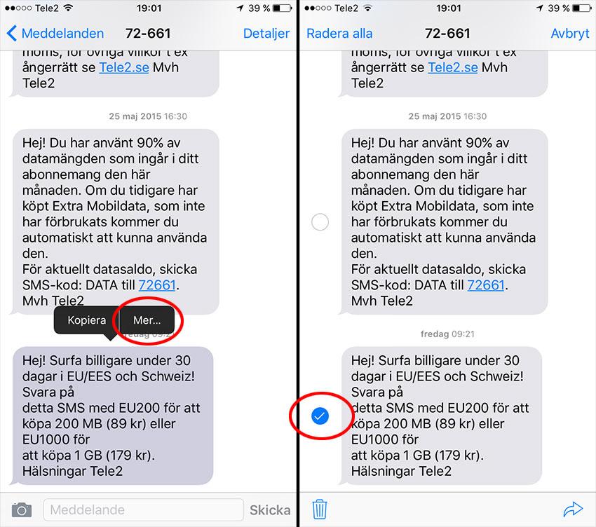 iPhone - Ta bort enstaka SMS - Peka och håll inne - Mer