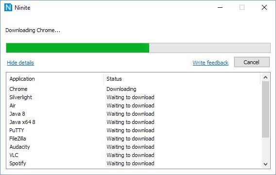 Ninite - Laddar ner och installerar program och appar