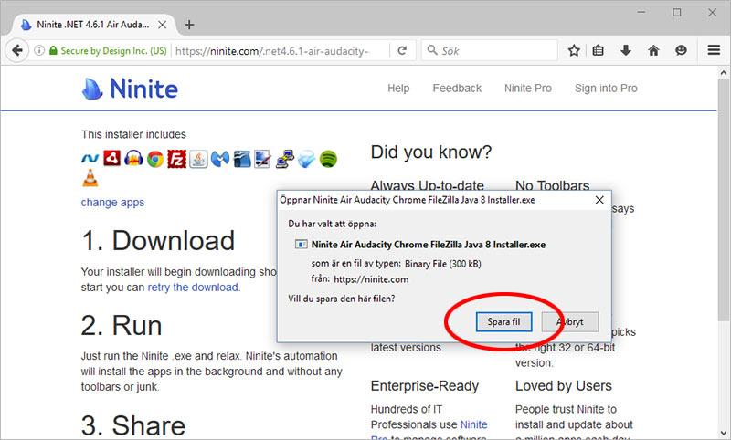 Ninite - Spara fil med program och appar att installera
