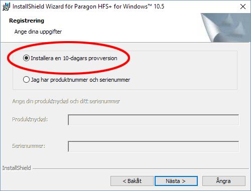 Paragon HFS-plus - Installera en test-version