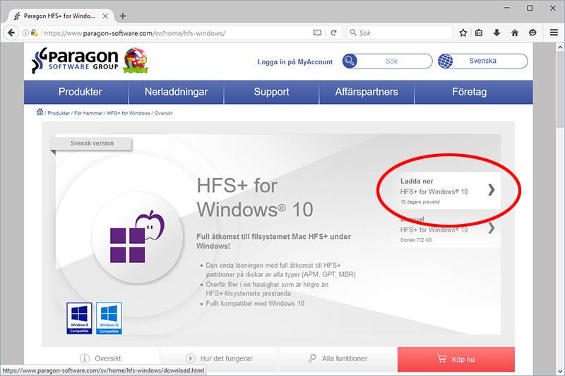 Paragon HFS-plus - Ladda ner Mac-hårddisk på Windows PC