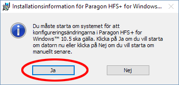 Paragon HFS-plus - Starta om datorn