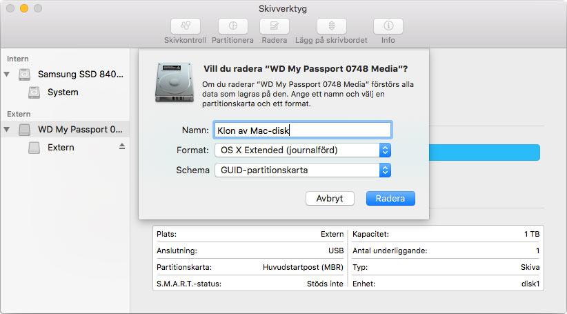 Byt hårddisk på Mac - Radera hårddisken först
