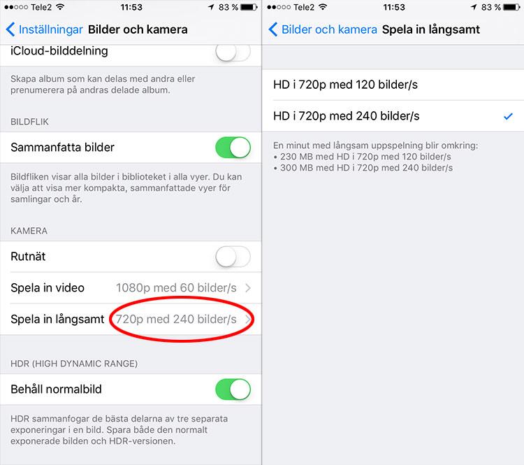 iPhone - Spela in långsamt - Slow motion - Ändra hastighet
