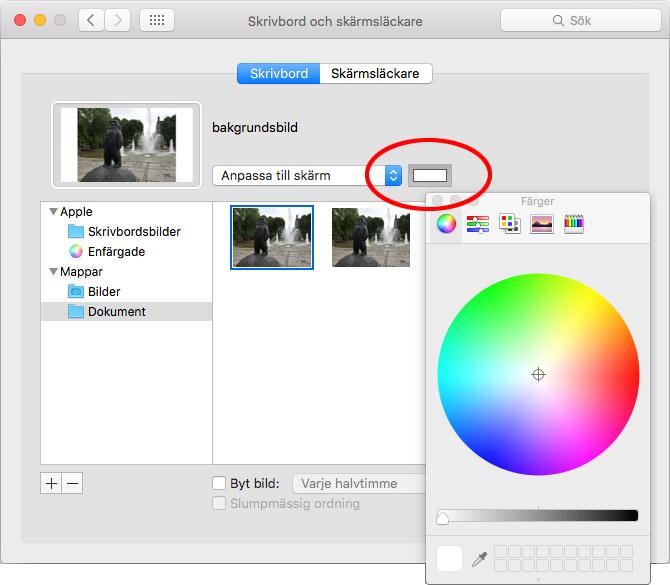 Mac - Bakgrundsbild - Anpassa till skärm - Färg - Kanter