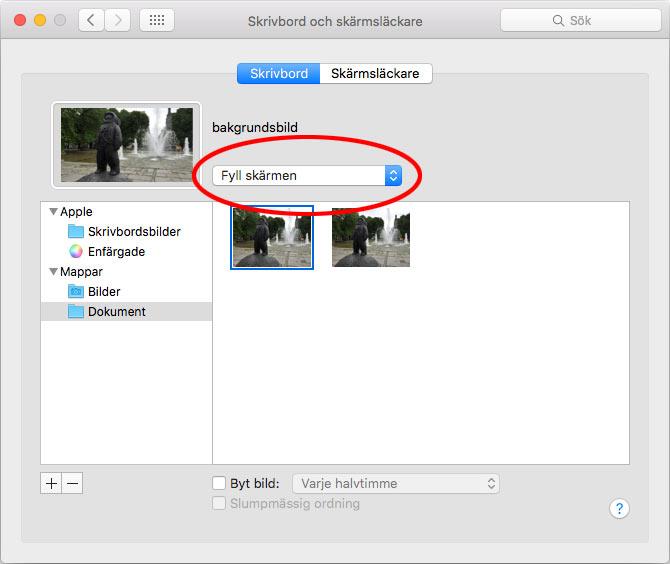 Mac bakgrundsbild - Fyll skärmen - Centrera