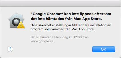 Mac - Kan inte öppnas eftersom inte hämtades från Mac App Store