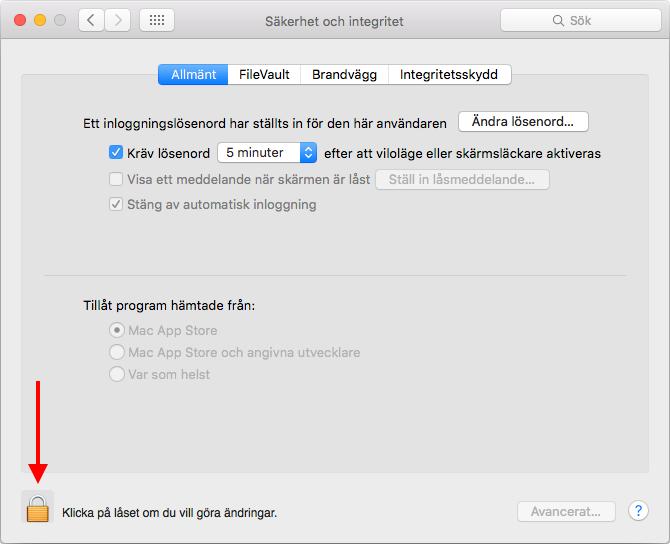 Mac - Klicka på låste om du vill göra ändringar