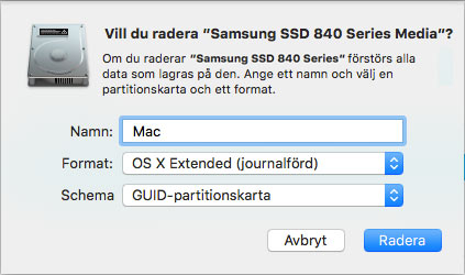 Mac - OS X - Radera - Formatera hårddisk - Extended - Journalförd