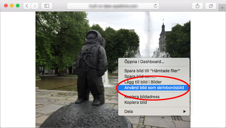Mac - Safari - Använd bild som skrivbordsbild