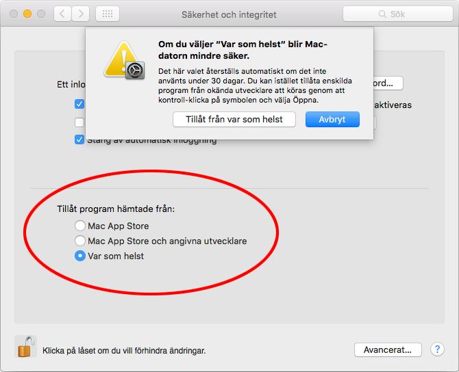 Mac - Tillåt program hämtade från Var som helst