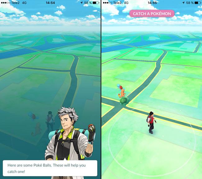 Pokemon Go - Gå iväg från de tre första Pokémon - Pikachu