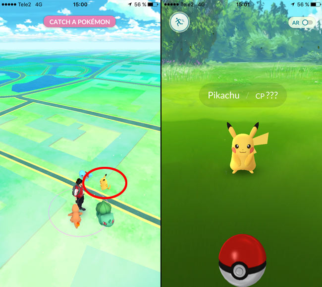 Pokemon Go - Hittat Pikachu - Fånga Pikachu - Börja med