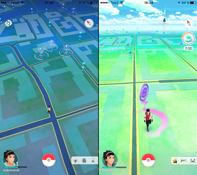 Pokemon Go - Karta - Natt och dag