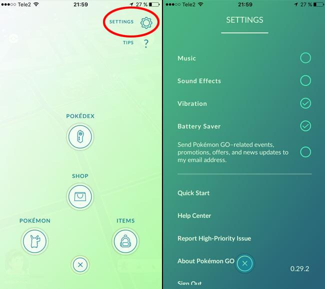 Pokemon Go- Settings - Spara batteri (Battery Saver)