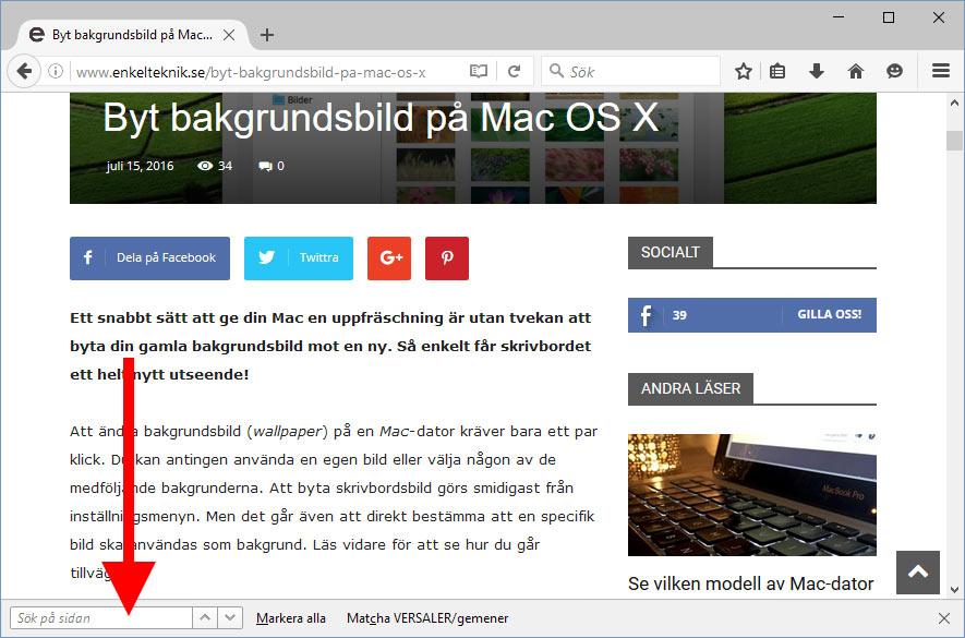 Sökfält - Webbsida - Firefox - Sök efter visst ord