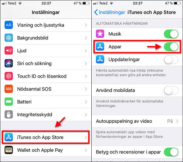 Stäng av automatiskt hämtning av appar - iPhone - iPad - iTunes - App Store